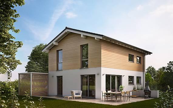 Kern-Haus Massivhaus Familienhaus Cara Gartenseite