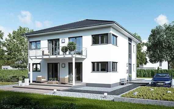 Massivhaus Kern-Haus Zweifamilienhaus Duplea Gartenseite