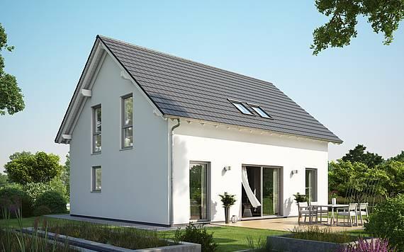 Massivhaus Kern-Haus Familienhaus Signum Gartenseite