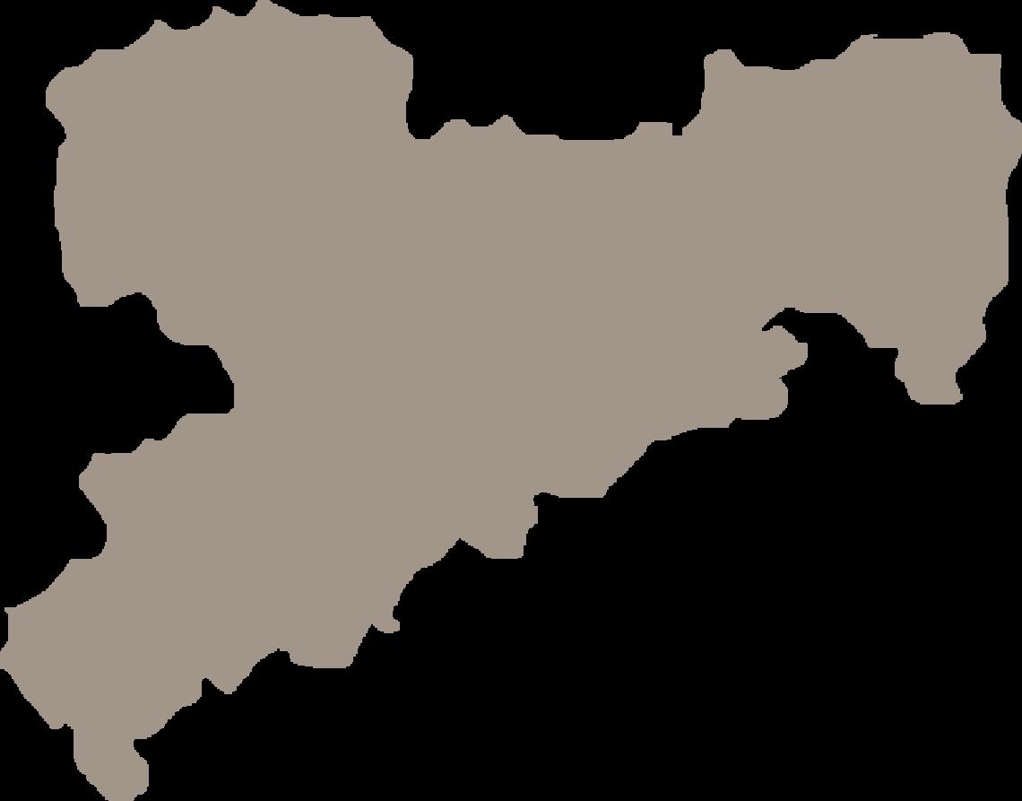 Ausschnitt einer Karte mit dem Bundesland Sachsen