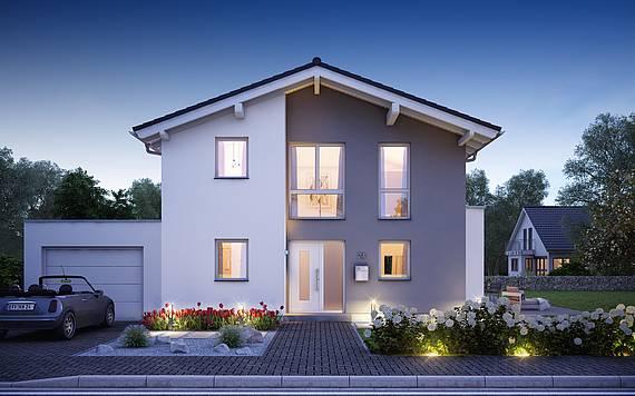 Kern-Haus Massivhaus  Familienhaus Vero Eingangsseite bei Nacht