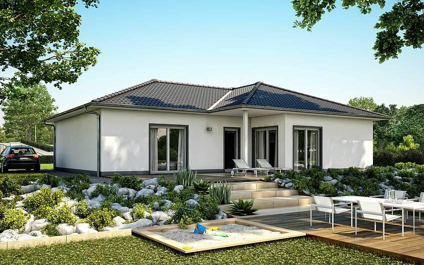 So wird das Traumhaus von der Gartenseite aussehen.