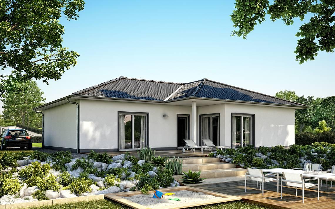 Massivhaus Kern-Haus Bungalow Balance Gartenseite