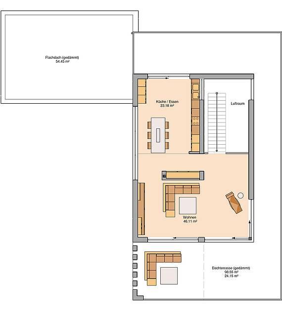 Massivhaus Kern-Haus Architektenhaus Arta Grundriss Erdgeschoss