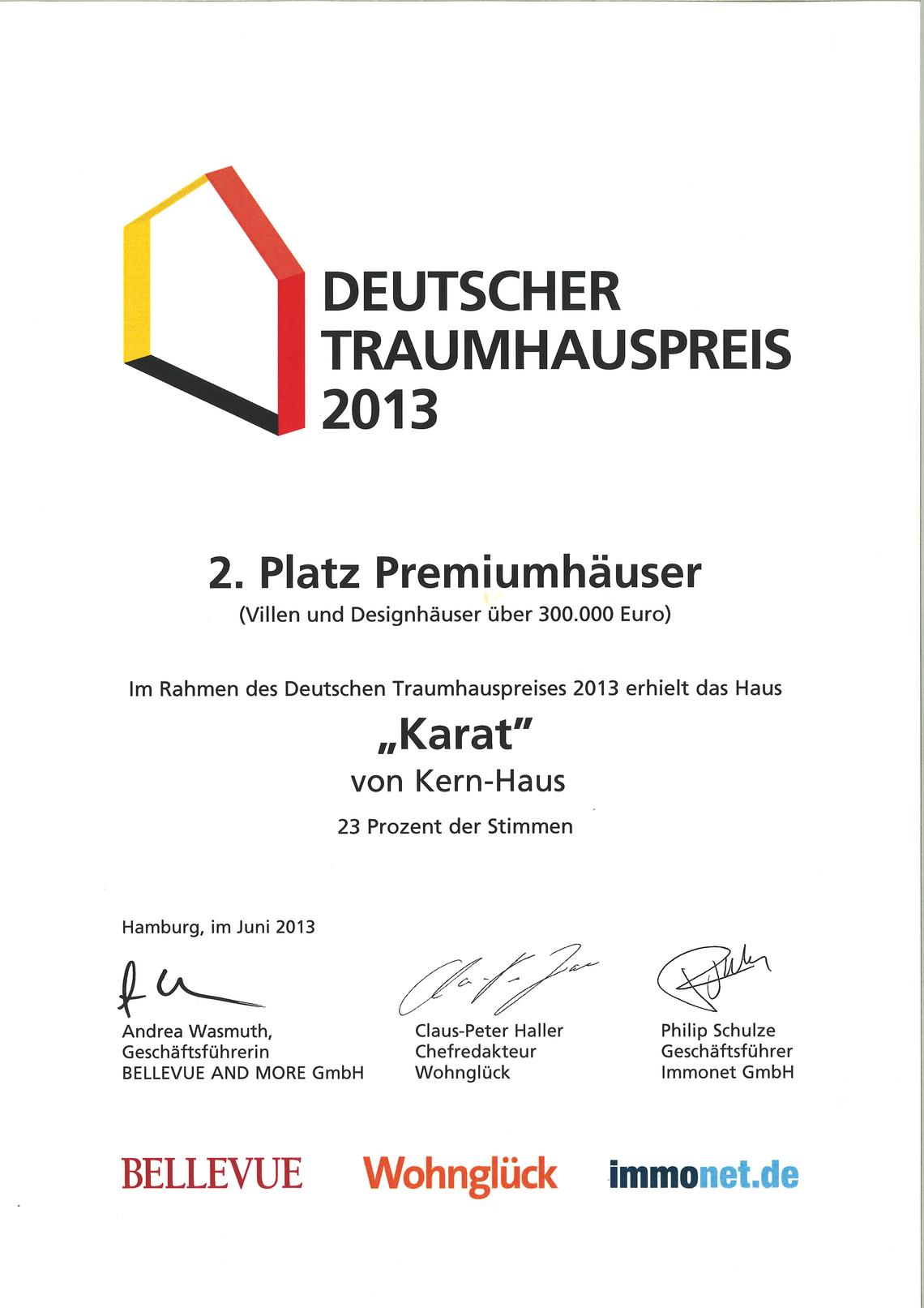 Urkunde Deutscher Traumhauspreis 2013: 2.Platz für Kern-Haus Karat