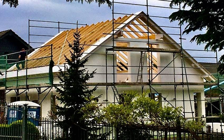 Seitenansicht fertiger Dachstuhl