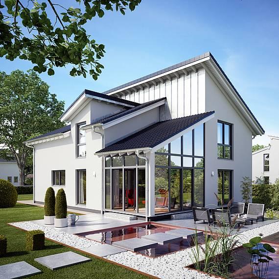 Massivhaus Kern-Haus Familienhaus Akzent Gartenseite