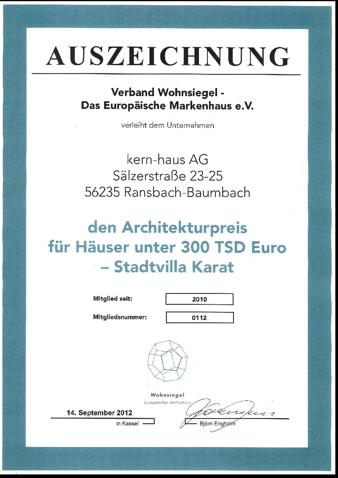 Urkunde Architekturpreis 2012