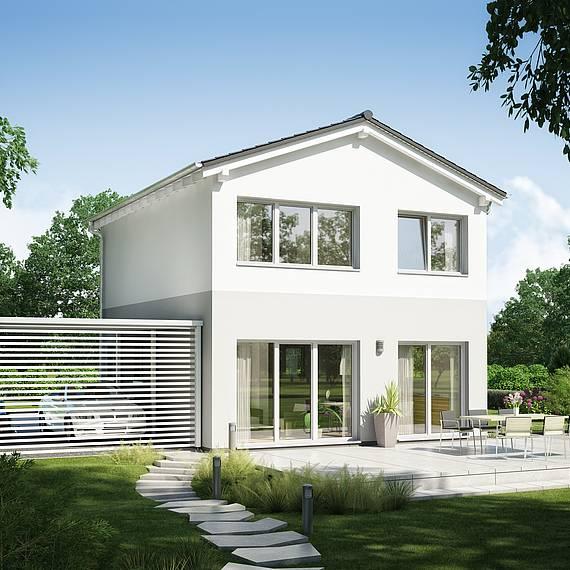 Massivhaus Kern-Haus Singlehaus und Paarhaus Fun Gartenseite