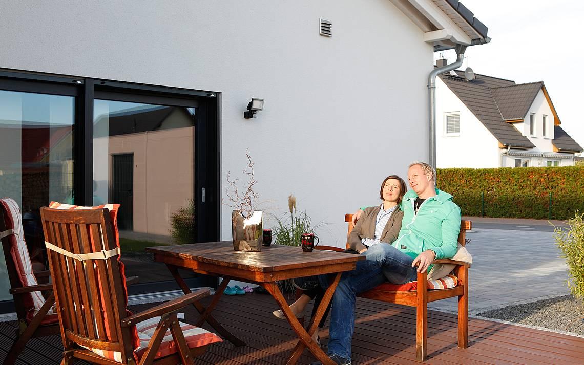 Bauherren Gerstner auf der Terrasse