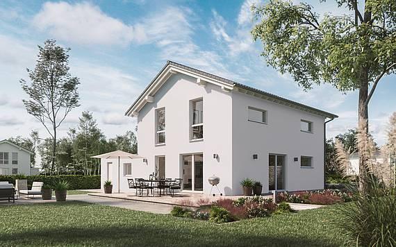 Massivhaus Kern-Haus Architektenhaus Jara Gartenseite