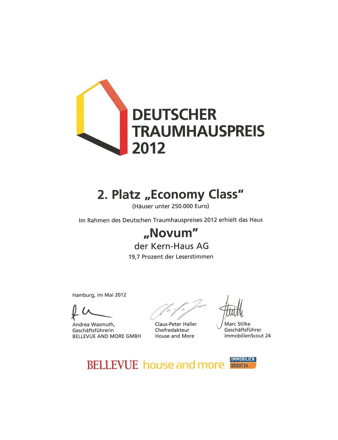 Urkunde Deutscher Traumhauspreis 2012: Zweiter Platz Economy Class für Novum