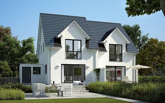 Massivhaus Kern-Haus Doppelhaushälfte Twin L Gartenseite