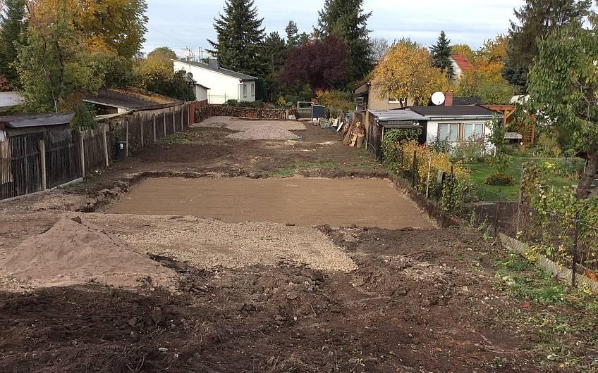 Das schöne Herbstwetter wurde genutzt, um die vorbereitenden Arbeiten vor Bodenplatte durchzuführen.