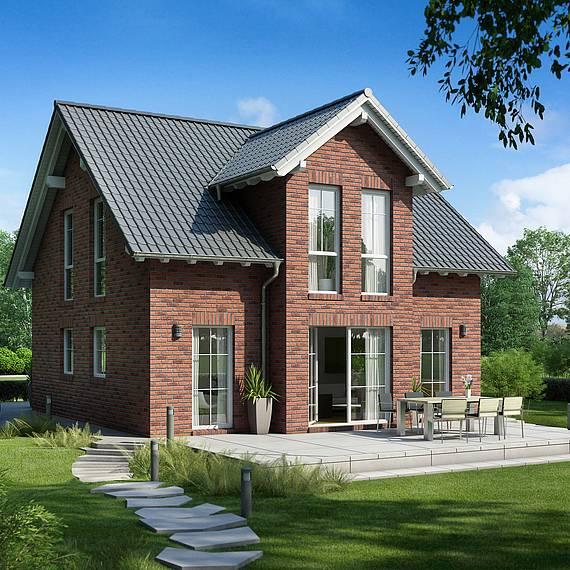 Massivhaus Kern-Haus Familienhaus Esprit Klinker Gartenseite