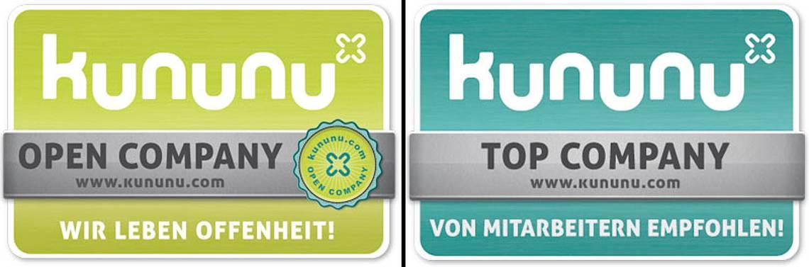 Logos Kununu Open Company und Top Company