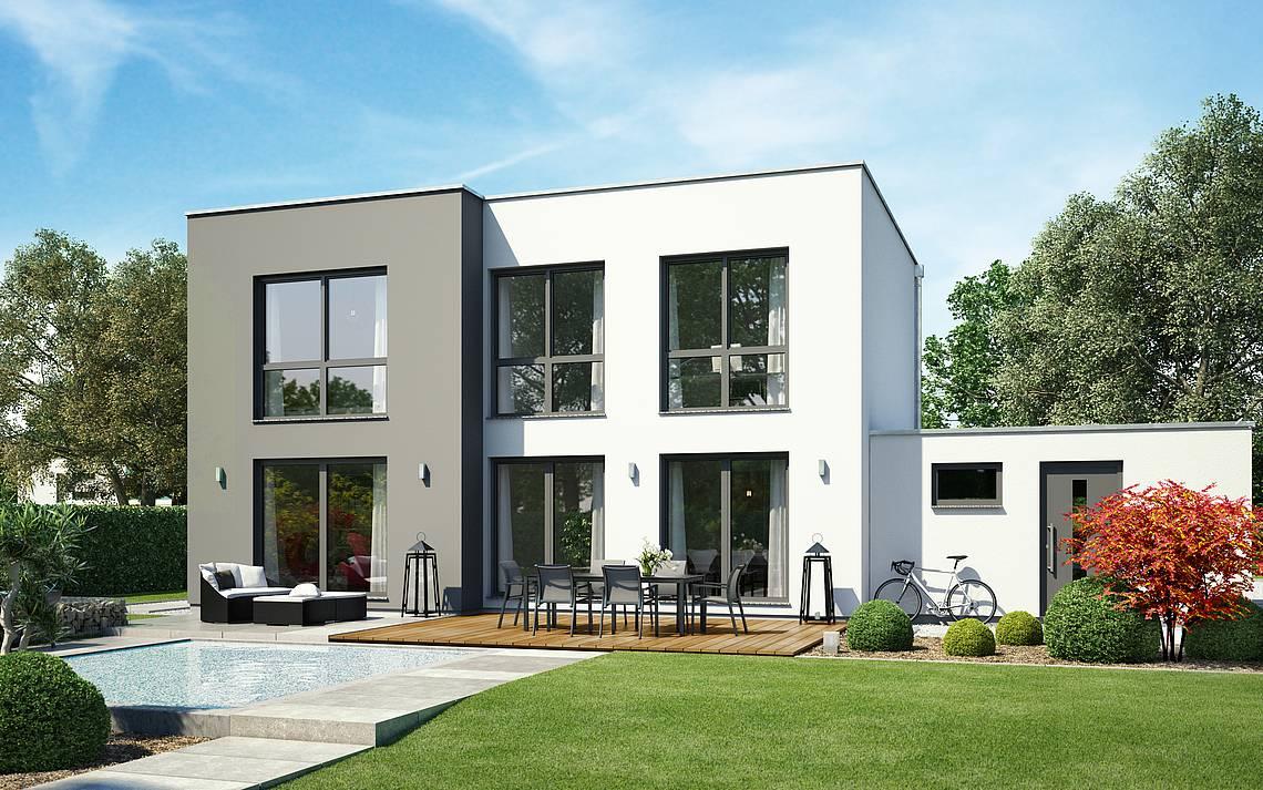 Massivhaus Kern-Haus Bauhaus Modus Gartenseite