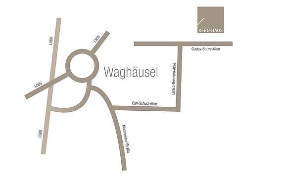Anfahrtsskizze zum Büro von Kern-Haus Heidelberg in Waghäusel