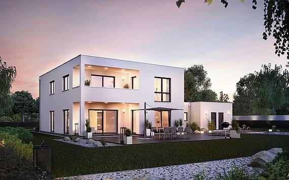 Massivhaus Kern-Haus Bauhaus Ixeo Gartenseite Abend