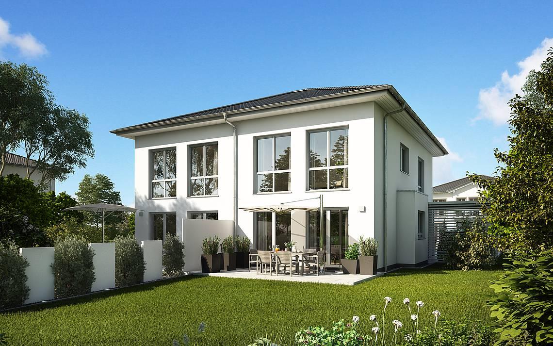 Kern-Haus Massivhaus Doppelhaus Linus Gartenseite