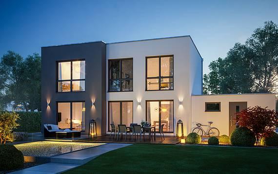 Massivhaus Kern-Haus Bauhaus Modus Gartenseite Nacht