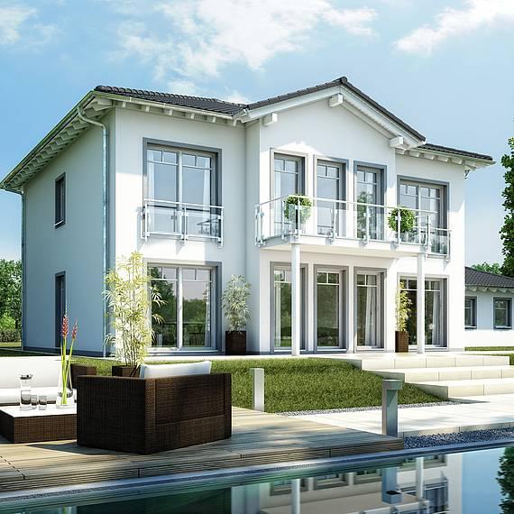 Massivhaus Kern-Haus Stadtvilla Karat Gartenseite am Tag