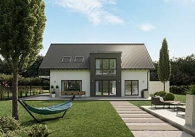 Massivhaus Kern-Haus Zweifamilienhaus Extend Gartenseite