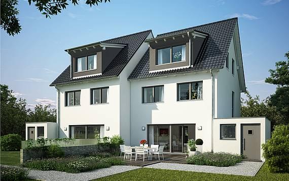 Massivhaus Kern-Haus Doppelhaushälfte Twin XXL Gartenseite