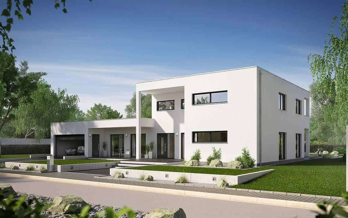 Massivhaus Kern-Haus Bauhaus Ixeo Eingangsseite