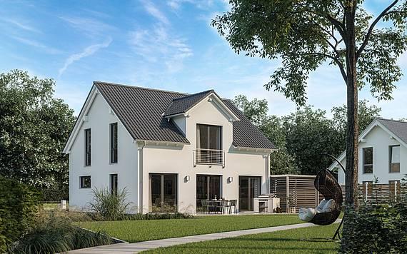 Massivhaus Kern-Haus Familienhaus Trend Gartenseite