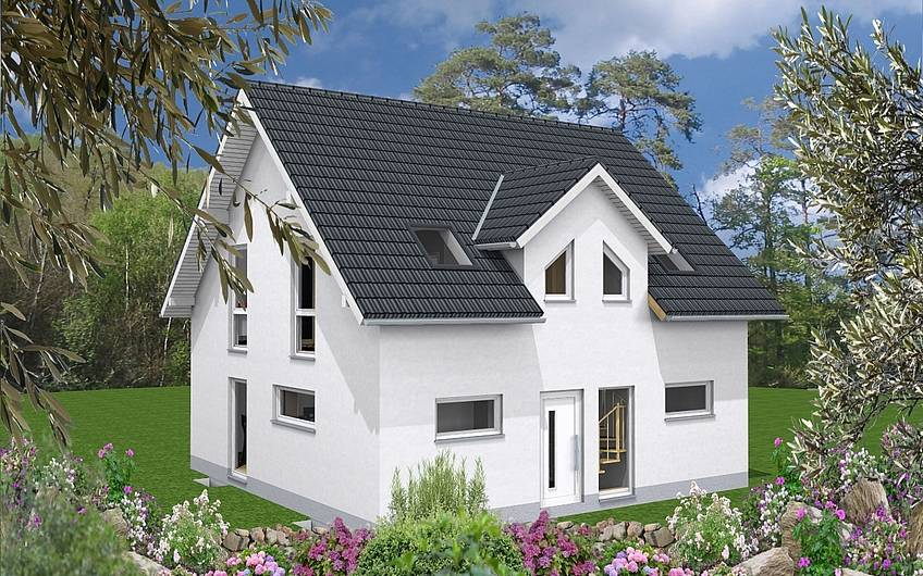 Haus mit Satteldach und Gaube