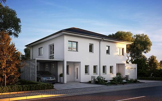Kern-Haus Doppelhaus mit Walmdach