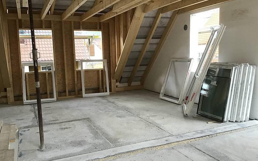 Dachgeschoss Fenster Rohbau Dachstuhl