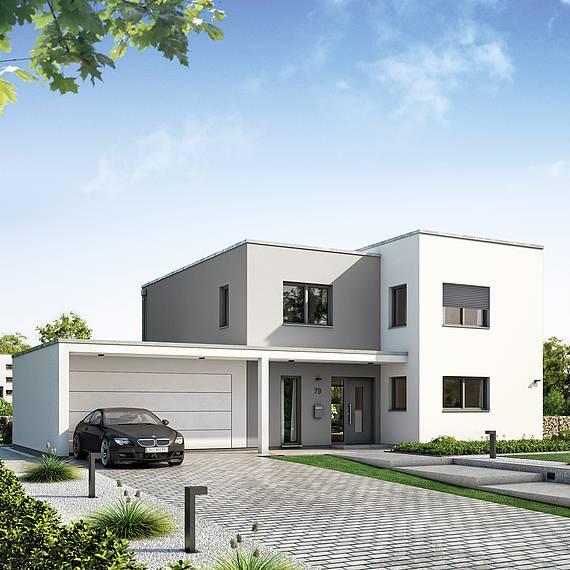 Kern-Haus Futura Bauhaus Eingangsseite mit Rollläden