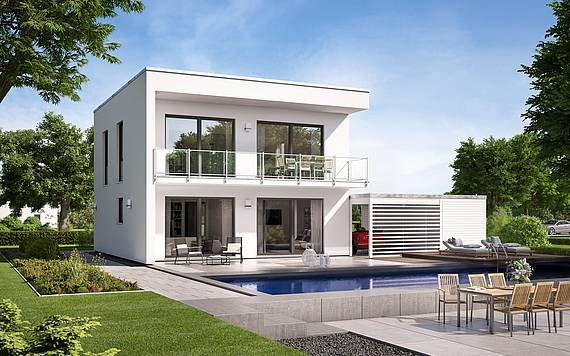 Massivhaus Kern-Haus Bauhaus Novum P Gartenseite