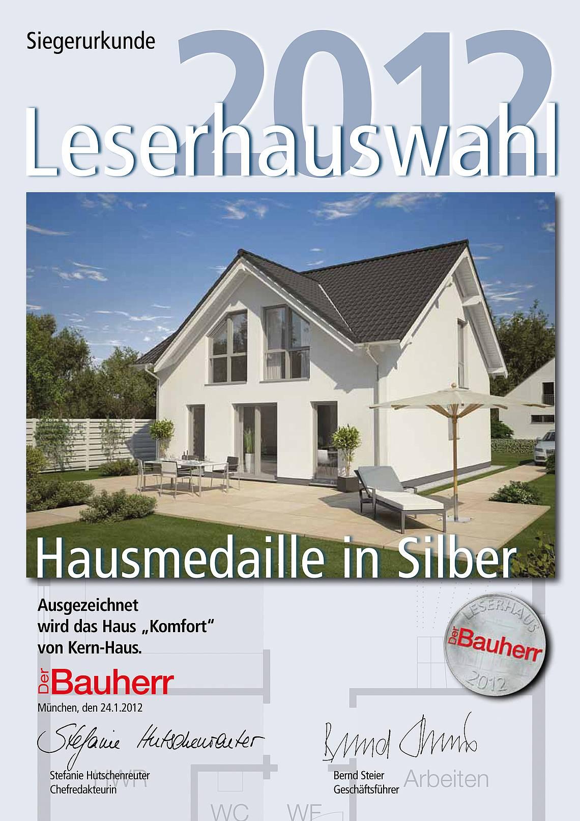 Urkunde Leserhauswahl 2012: Silbermedaille für Kern-Haus Komfort