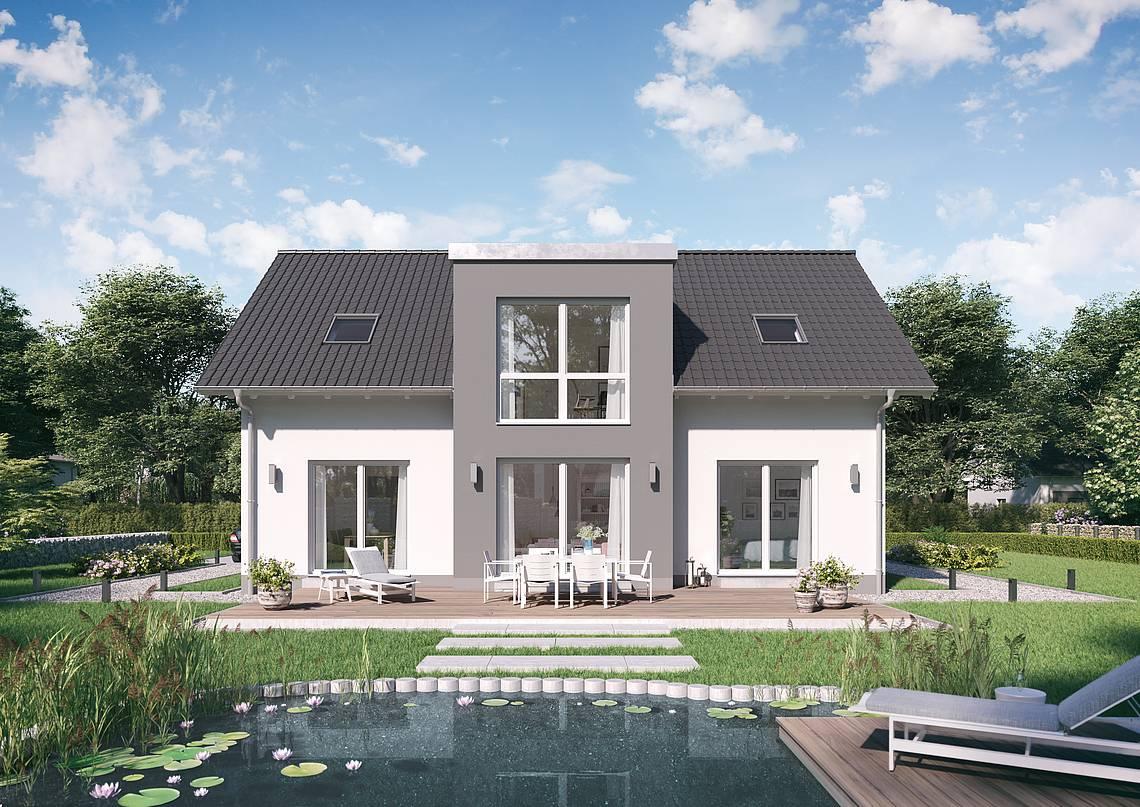 Massivhaus Kern-Haus Architektenhaus Auro Gartenseite