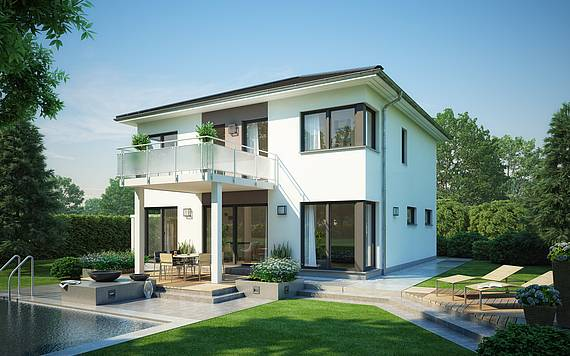 Massivhaus Kern-Haus Stadtvilla Centro Gartenseite mit Balkon