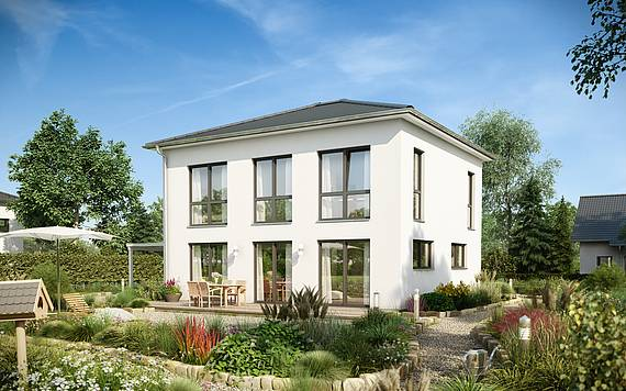 Massivhaus Kern-Haus Stadtvilla Signus Gartenseite