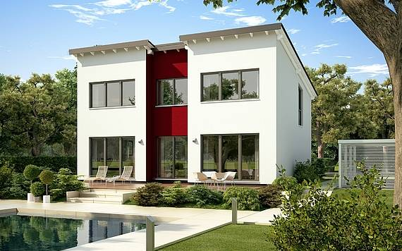 Massivhaus Kern-Haus Familienhaus Vio Plus Gartenseite