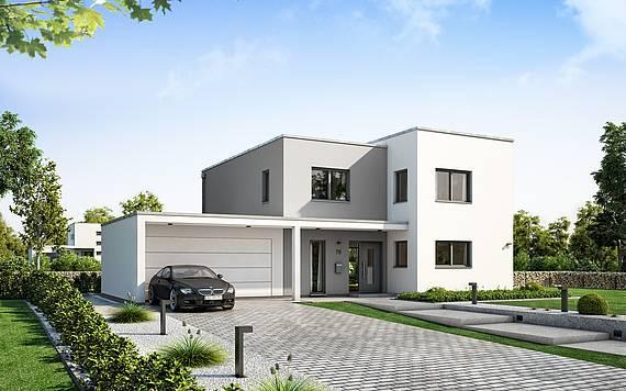 Massivhaus Kern-Haus Futura Bauhaus Eingangsseite am Tag