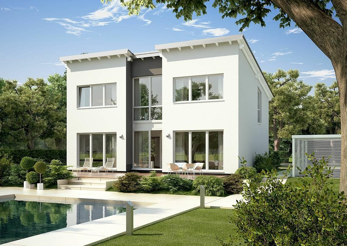 Massivhaus Kern-Haus Familienhaus Vio Gartenseite
