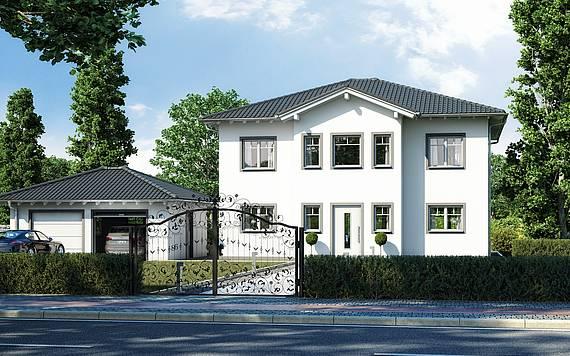 Massivhaus Kern-Haus Stadtvilla Karat Eingangsseite am Tag