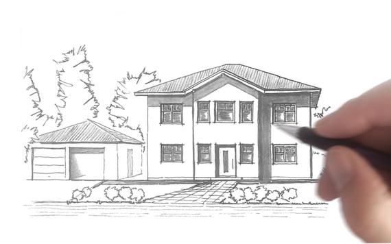 Zeichnung der Stadtvilla Karat von Kern-Haus