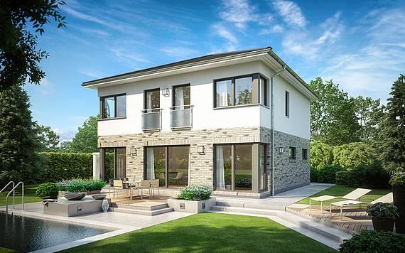 Massivhaus Kern-Haus Stadtvilla Centro Klinker Gartenseite