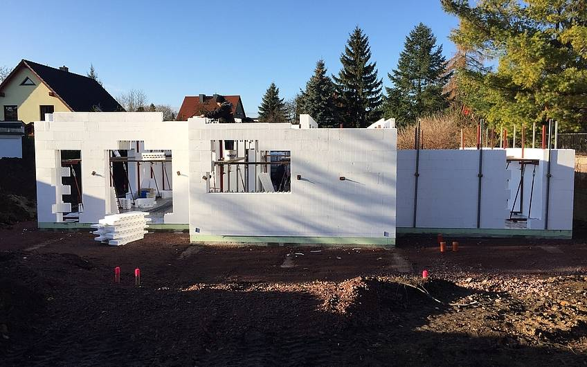 Terrassenbereich im Bau