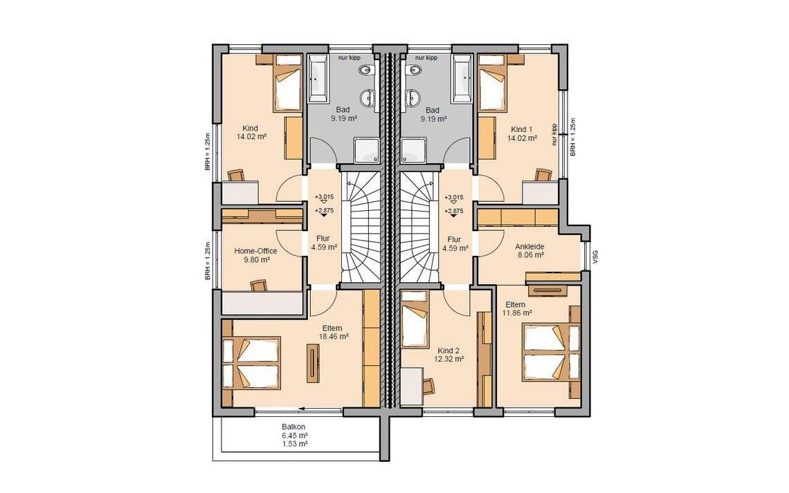 Grundriss Obergeschoss Doppelhaus Linum
