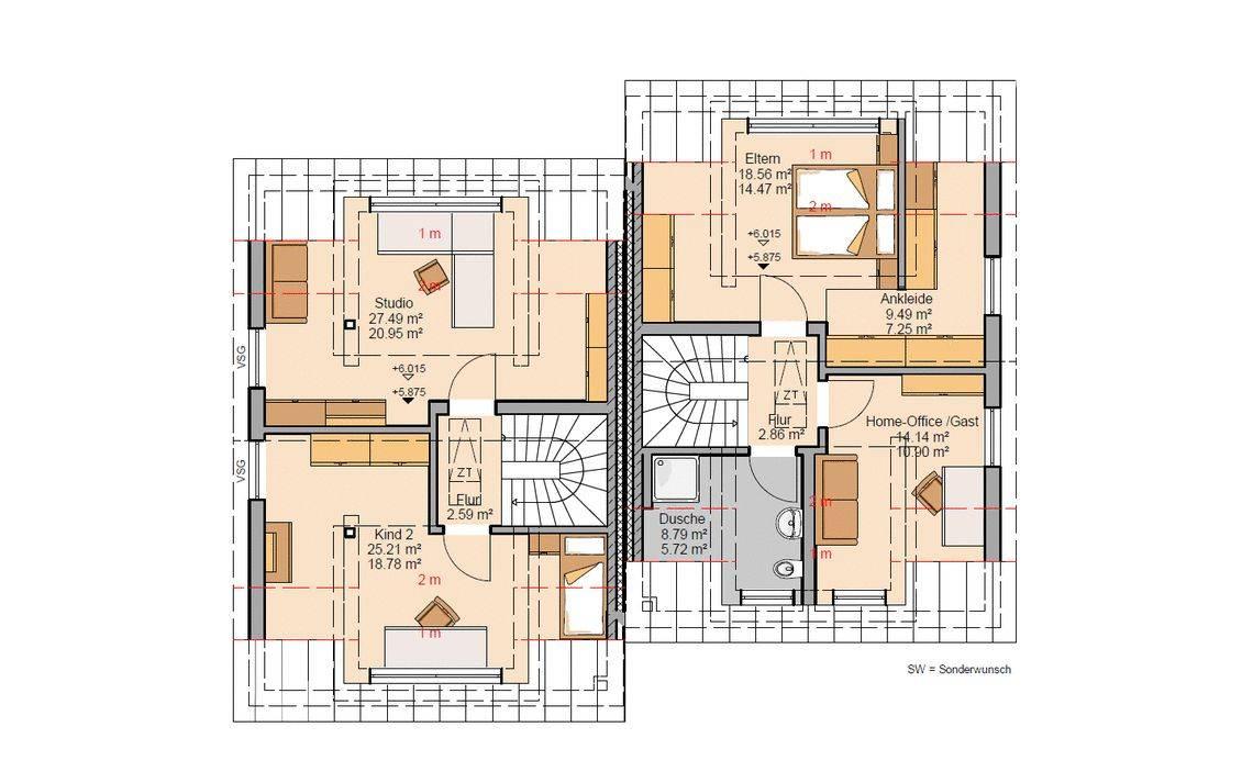 Grundriss Dachgeschoss Doppelhaus Twin Xxl