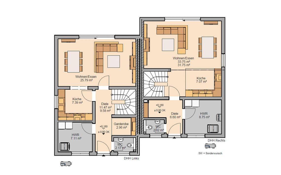 Grundriss Erdgeschoss Doppelhaus Twin Xxl