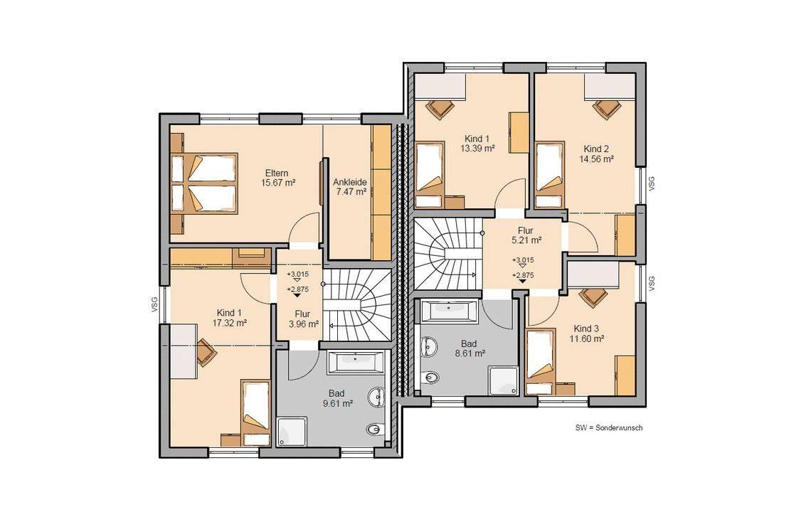 Grundriss Obergeschoss Doppelhaus Twin Xxl